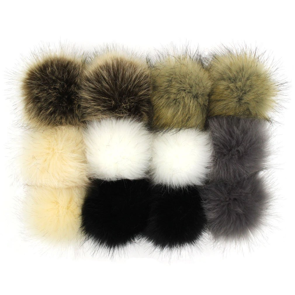 SUSULU Pack of 12 Faux Fox Fur Pompoms for Hats 4.7inch 12CM (Popular Mix) furling