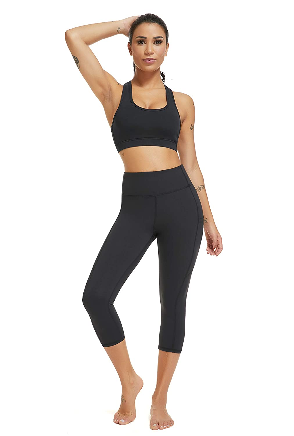 f1ef5cd52e987 Amazon.com: Womens High Waisted Yoga Pants - Olacia Black Workout Leggings  Athletic Capris 4-Way Stretch Tummy Control Running Pants with Pockets  Small: ...