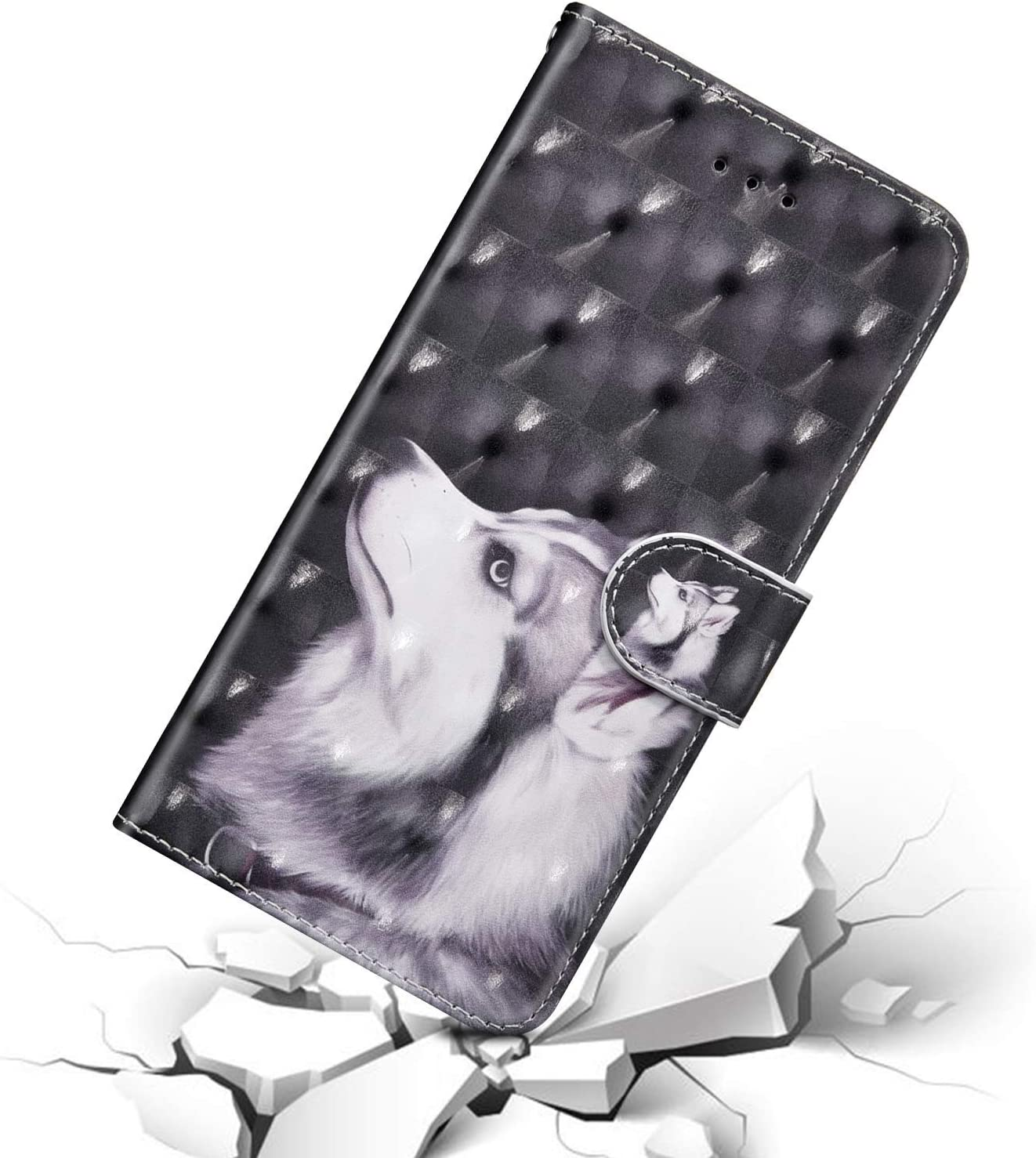 JAWSEU Compatible avec Samsung Galaxy S9 Plus Coque Portefeuille PU Mode 3D Color/é Motif /Étui Housse Cuir /à Rabat Pochette Magn/étiquePU Flip Wallet Case Cover pour Galaxy S9 Plus,Loup
