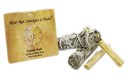 New Age Smudges and Herbs Smudge Kit - 2 California White Sage Smudge Stick  for Cleansing (Salvia Apiana) with 2 Palo Santo Incense Sticks (Holy Wood)