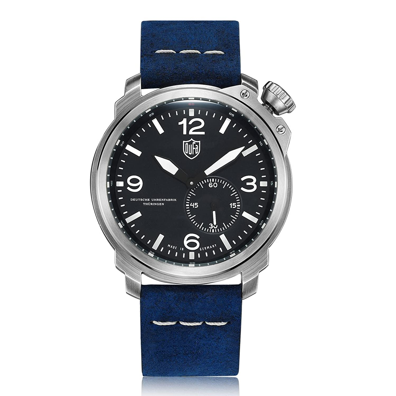Dufa Deutsche Uhrenfabrik Unisex-Armbanduhr Analog Quarz Leder DF-9009-03 Kiel