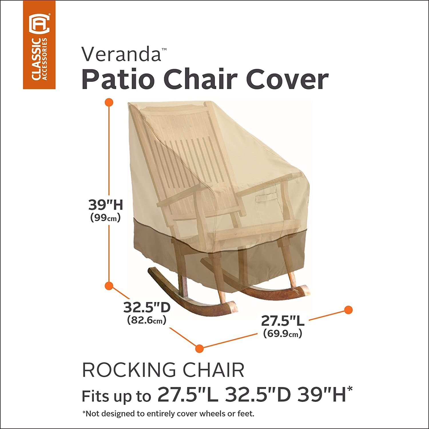 Amazon.com : Classic Accessories Veranda Patio Rocking Chair Cover    Durable And Water Resistant Outdoor Furniture Cover, Medium (70952) : Patio  Chair ...