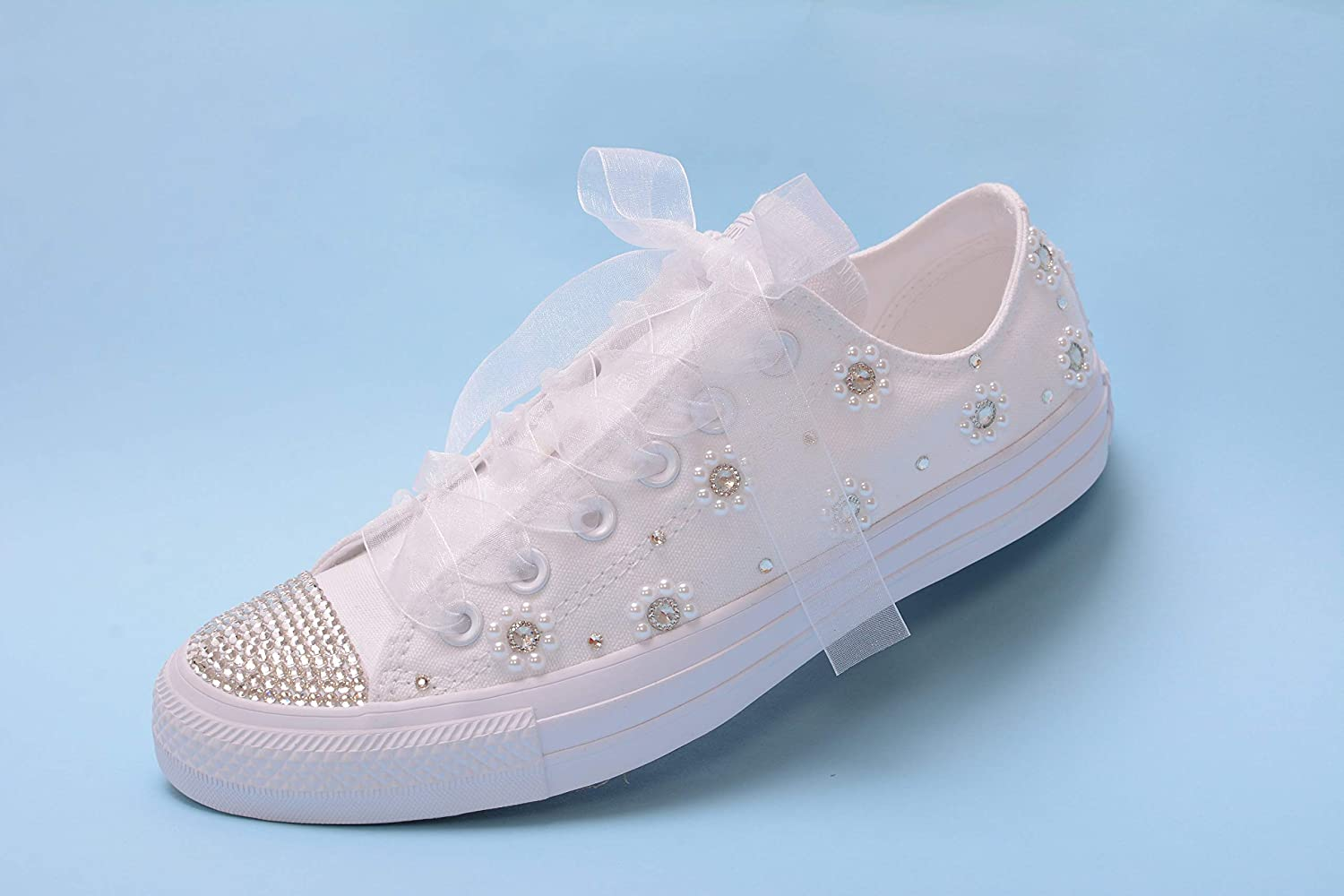 a86d7a64f58 Amazon.com: Bling White Pearl Wedding Sneakers For Bride, Lace ...