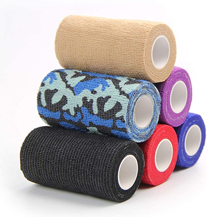 PER 4 Pieces Pet Bandage Self Adherent Bandage High Elasticity Breathable Wound Wrap Band Injury Wrap Tape for Cats Dogs Horses