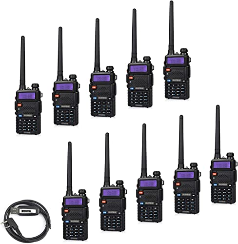 10 Pack BaoFeng UV-5RTP Tri-Power 8 4 1W Two Way Radio Upgraded Version of UV-5R , Dual Band 136-174 400-520MHz True 8W High Power 1 Programming Cable