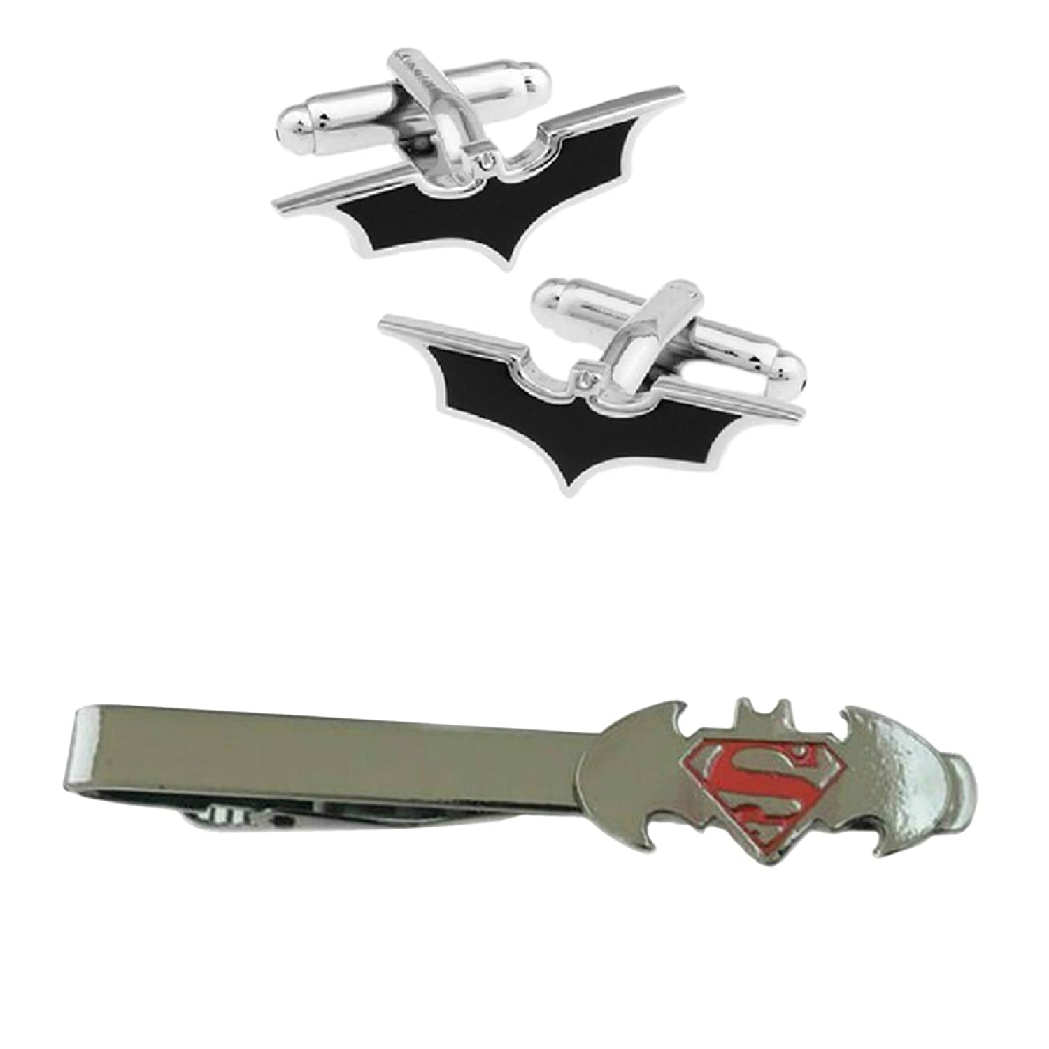 Outlander DC Comics - Batman Cutout Cufflink & Batman VS Superman Tiebar - Set of 2 Gift Set Wedding Superhero Logo Novelty Jewelry Series w/Gift Box