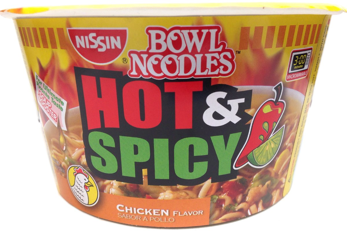 Nissin Hot & Spicy Shrimp Bowl, 3.27 Ounce, 6 Pack