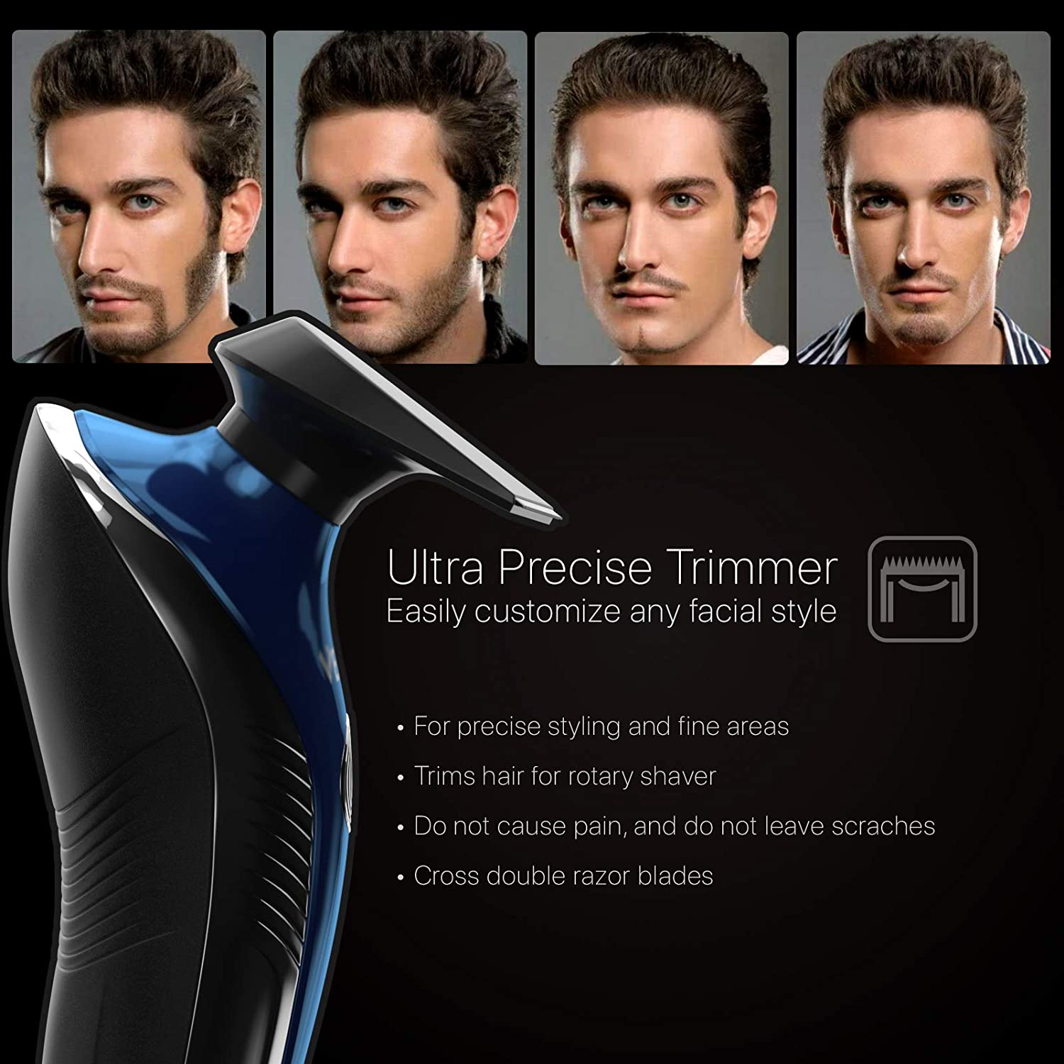 4 In 1 Electric Shaver For Men, Cordless Wet/Dry Electric Razor Beard Trimmer