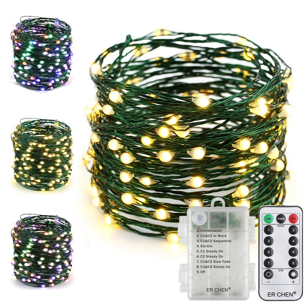ER CHEN Fairy Lights with Remote, Battery Operated Green Copper Wire 33Ft 100 LED String Lights Color Changing 8 Modes Christmas Lights with Timer for Bedroom, Patio, Garden (Warm White/Multicolor)