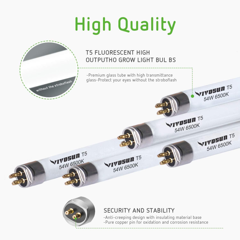 VIVOSUN 4FT 46IN 54W 6500K T5 HO Fluorescent Tubes Cool White Grow Light Bulb