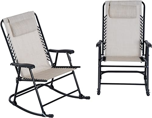 Outsunny Mesh Outdoor Patio Folding Rocking Chair Set – Cream White