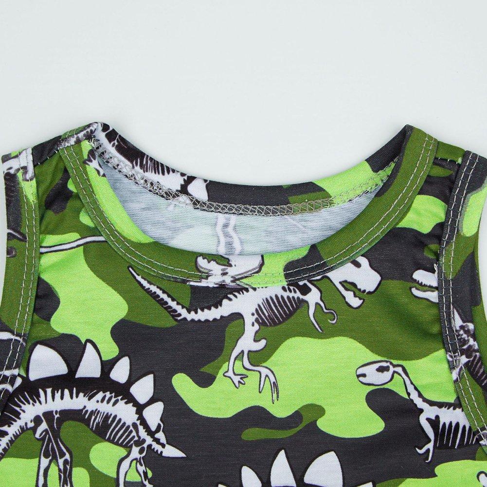 Yiding Newborn Unisex Camouflage Dinosaur Pattern Sleeveless Jumpsuits Soft Cotton Jumpsuit