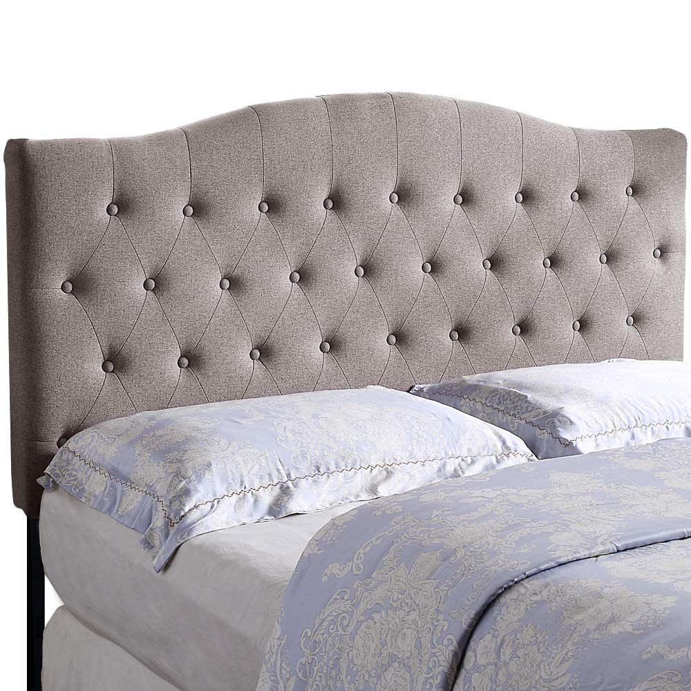 HOME BI Upholstered Tufted Button Curved Shape Linen Fabric Headboard Full/Queen Size, Light Grey