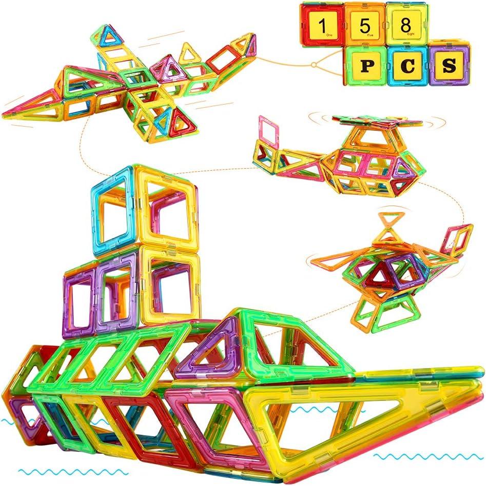 Blusmart Bloques Magnéticos, Juguete Educativo de Construcción Stem 158PCS 3D, Incluye Tarjetas de números, Tarjetas del Alfabeto, Ruedas de la Fortuna y Bolsa de Viaje para niños a Partir de 3 años