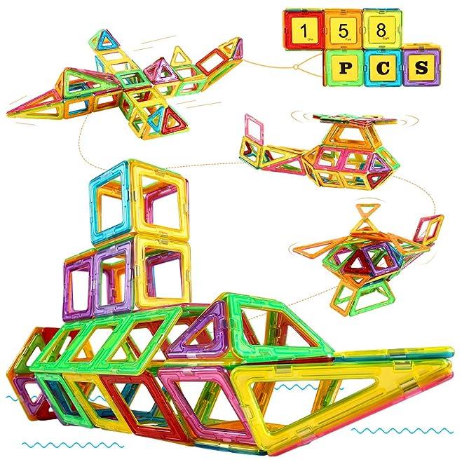 Blusmart Bloques Magnéticos, Juguete Educativo de Construcción Stem 158PCS 3D, Incluye Tarjetas de números, Tarjetas del…