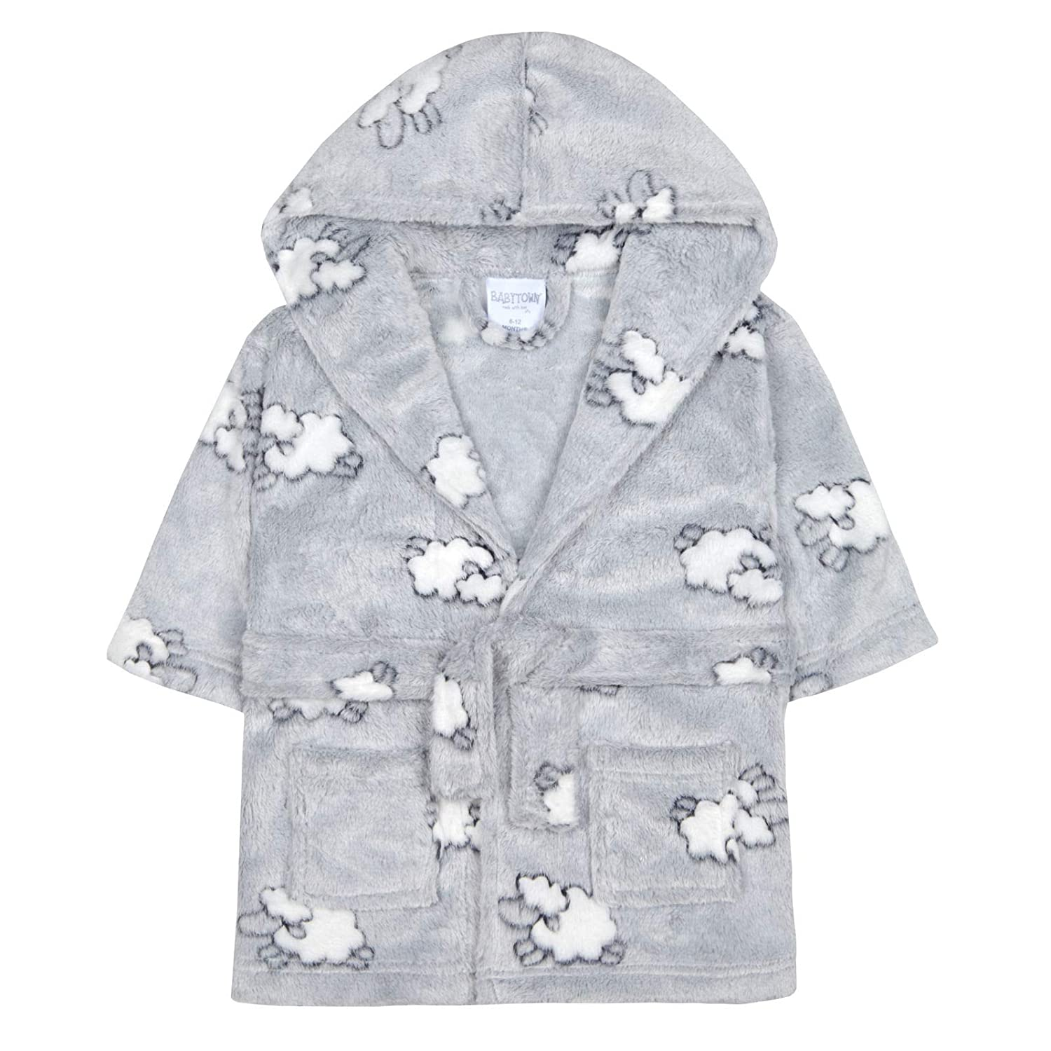 Baby Boys /& Girls Unisex Dressing Gown Ages 6-24 Months Soft Plush Flannel Fleece Hooded Bath Robe