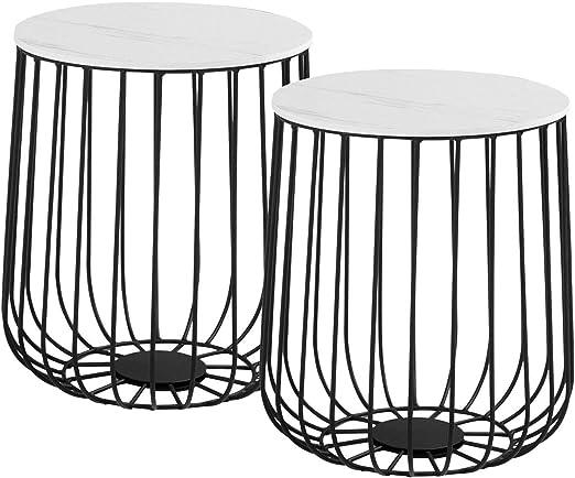 Industrie 3er Set Beistelltisch Modern Weiß Couchtisch Metall Korb Kaffee Möbel