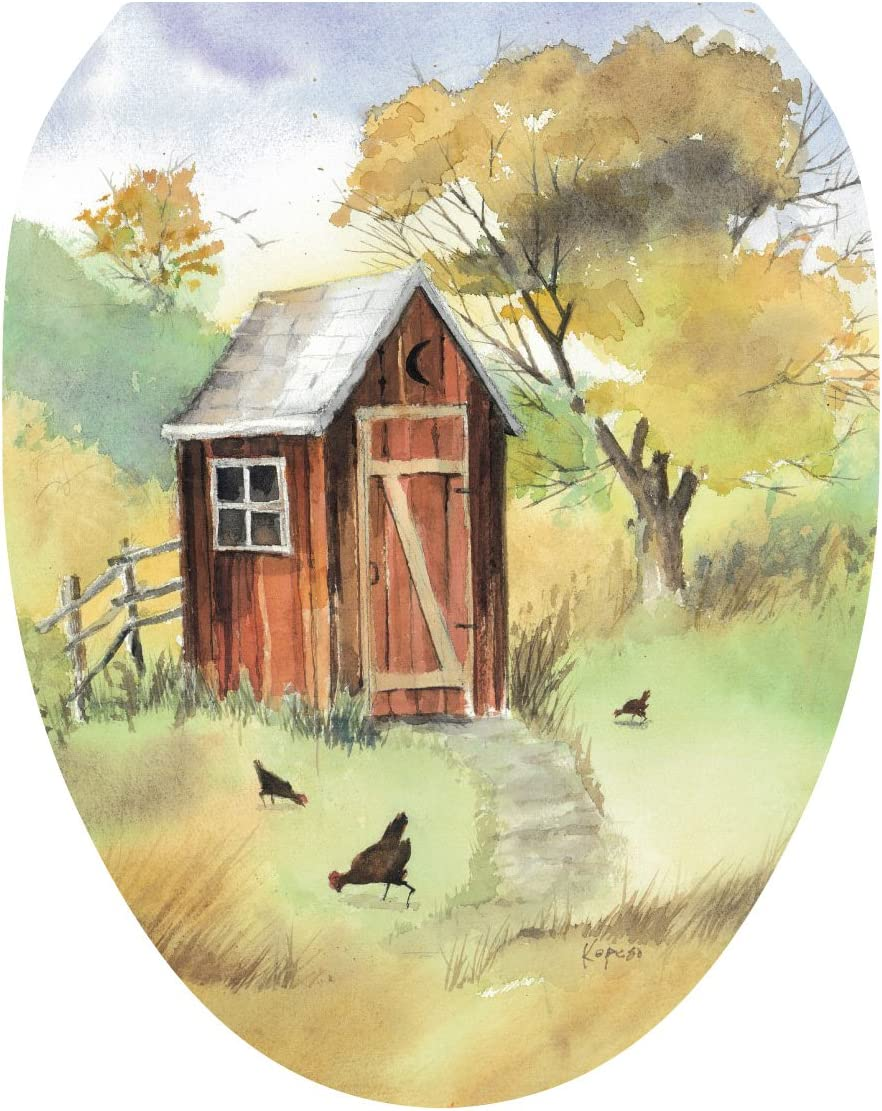 Toilet Tattoos, Toilet Seat Cover Decal, Outhouse Watercolor, Size Elongated