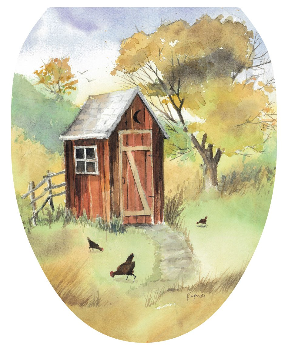 Toilet Tattoos TT-JK01-O Outhouse Watercolor Decorative Applique for Toilet Lid, Elongated by Toilet Tattoos