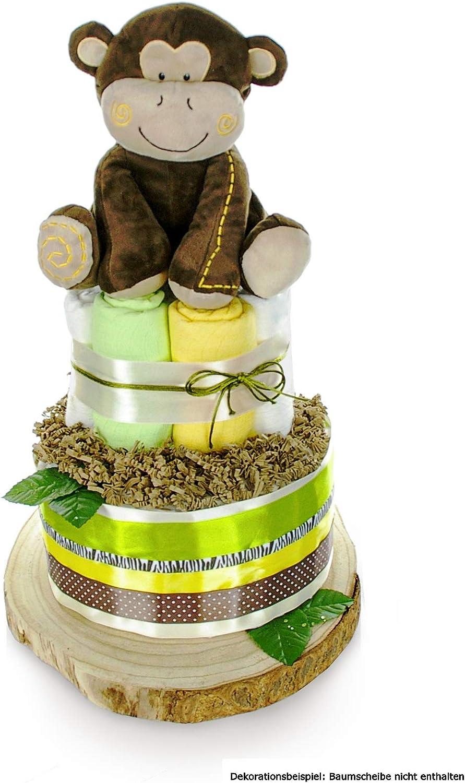 Geschenk zur Geburt Babyparty Babyshower dubistda/© Windeltorte neutral SAFARI f/ür Baby Jungen und M/ädchen gro/ße Affen Spieluhr gr/ün