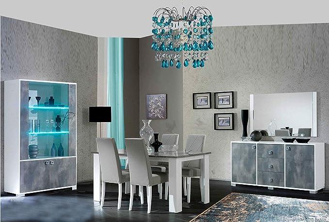 BRIDGE - Juego de mesa de comedor con acabado lacado blanco y beton, diseño moderno: Amazon.es: Iluminación