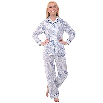 Alexander Del Rossa Women's Lightweight Button Down Pajama Set, Long Floral Cotton Pjs at Women's Clothing store
