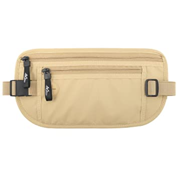 71b451d4f2f MoKo Secure Travel Money Belt, Undercover Hidden RFID Blocking Travel  Wallet, Anti-Theft Passport Wallets for Men & Women, Beige