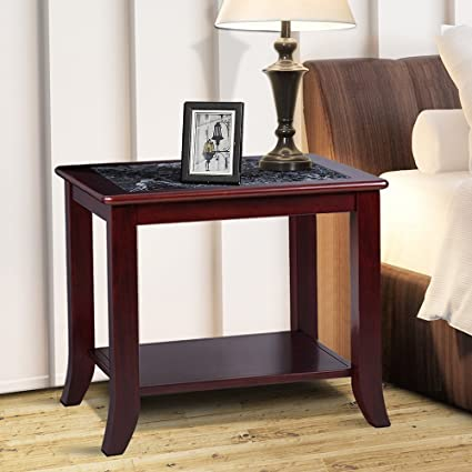 Amazoncom Olee Sleep Dark Emperador Natural Marble Top Solid Wood - Natural cherry side table