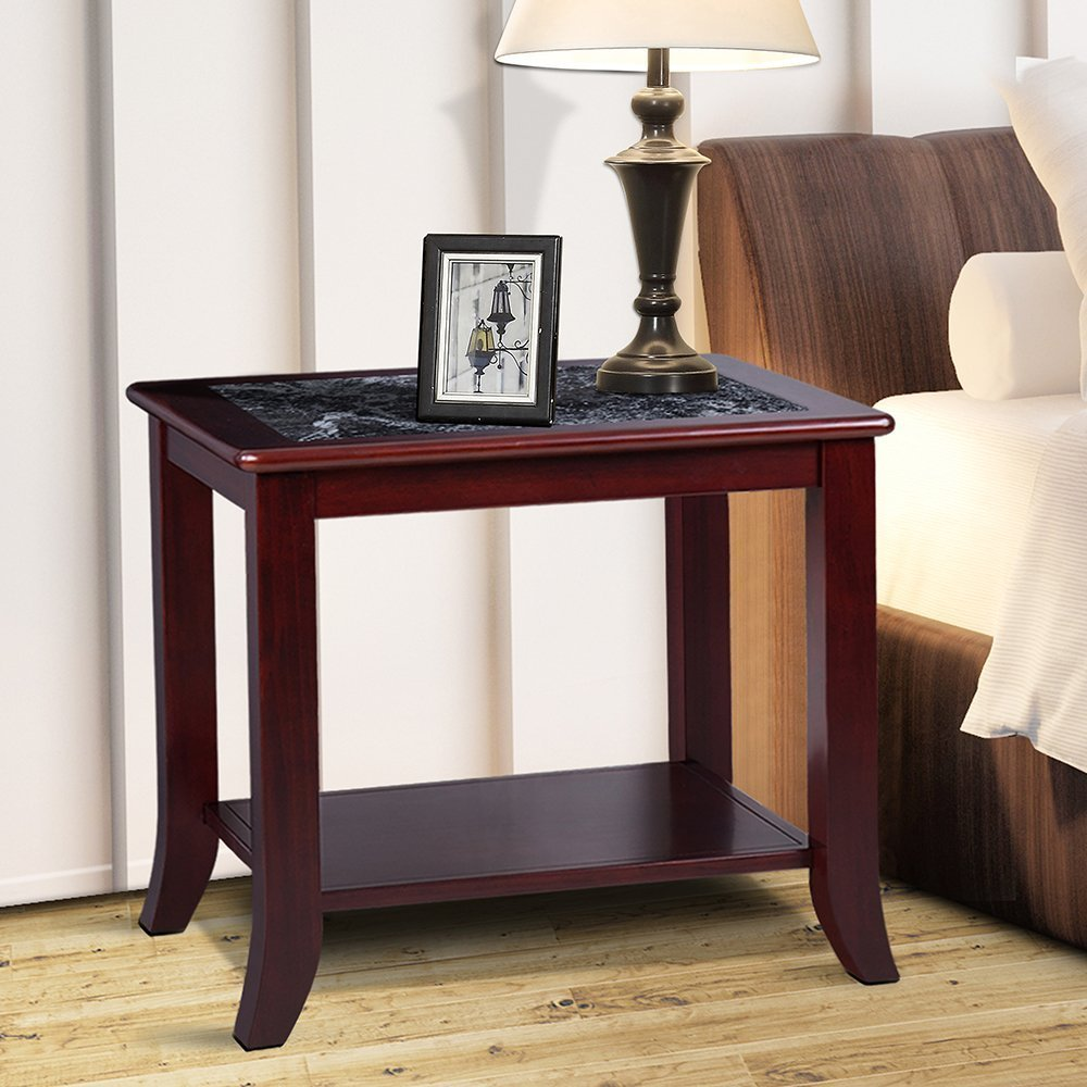 Olee Sleep 22'' Dark Emperador Side Table / Black Natural Marble (From Italy) Top / Cherry Brown Finish Solid Wood Base