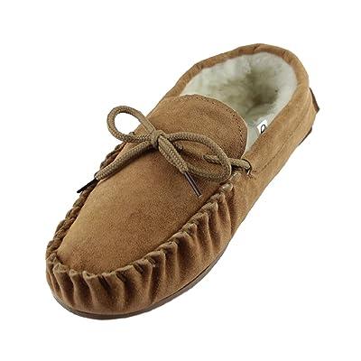 Sheepskin World Suede Sheepskin Wool Mens Moccasin Slippers - Hard Rubber Sole | Slippers