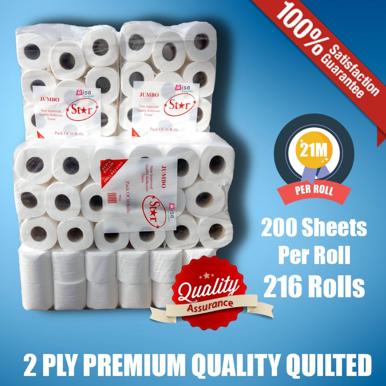 216 Toilet Rolls 2ply Tissue Luxury Quillted & Embossed Paper (MISA) Jumbo STAR TISSUE UK LTD