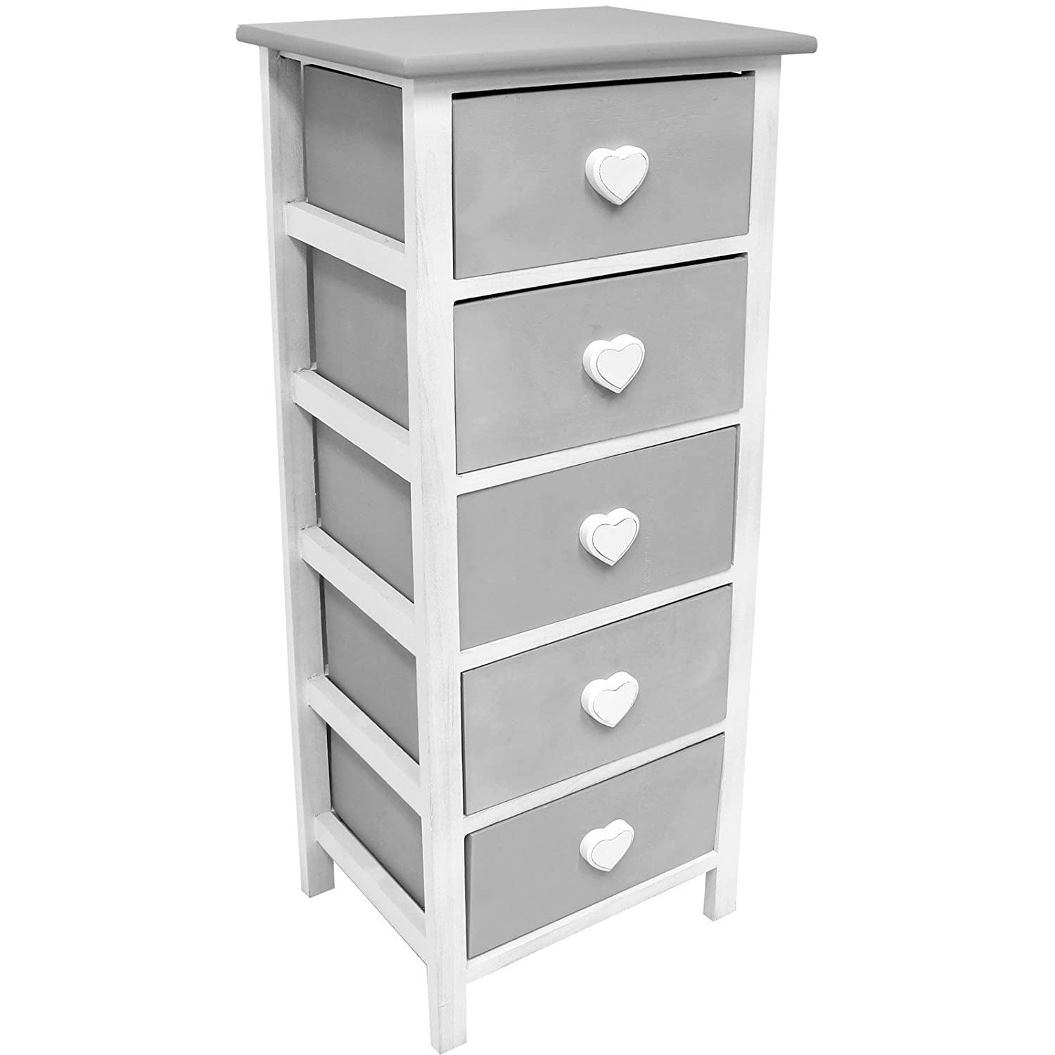 Hartleys White & Grey 5 Drawer Cabinet Amazon Kitchen & Home