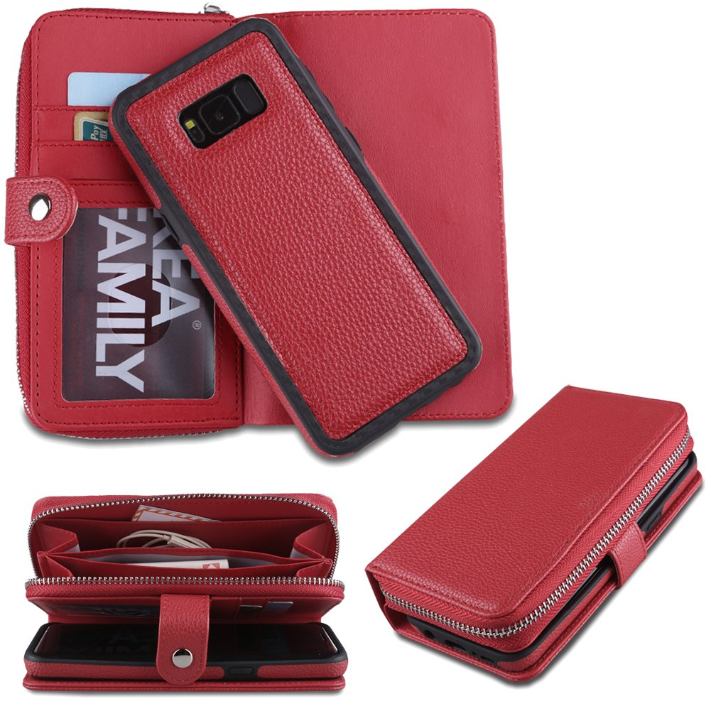 Eloiro Samsung Galaxy S8 Plus Zipper Wallet Case, PU Leather Button Closure Shell Detachable Folio Flip Back Cover Protective Soft Skin with Cash and Card Slots & Wrist Strap for Galaxy S8 Plus- Red