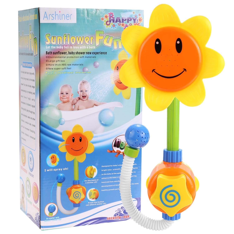 yellow Cartoon Sunflower Flow Spray Flower Shower Head Baby Kids Bath Fun Play Toy Shower Equipment