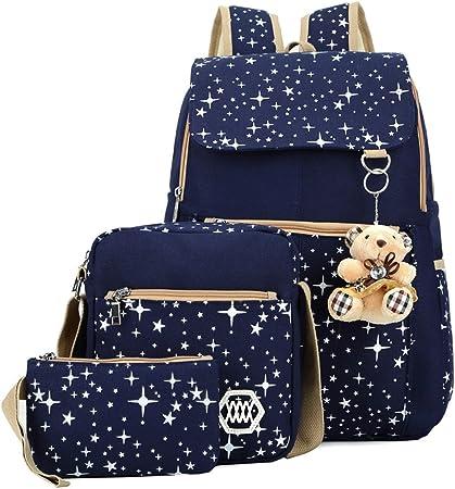 oyfel – a dos en negro lienzo estrellas galaxia con Lunch Box y estuche escolar para niños