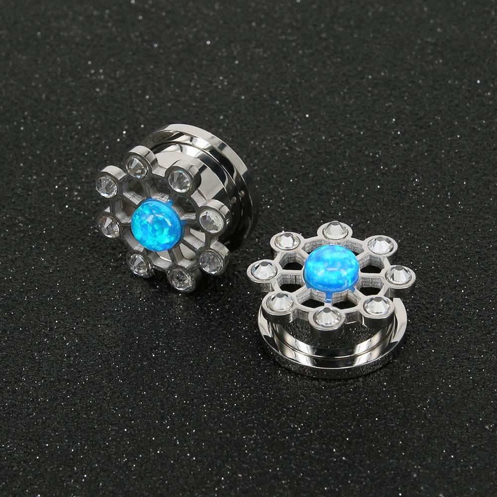 Flower-shaped Ear Plugs Tunnel Blue Ear Gauges Yellow Stainless Steel Plugged Ears Opal Ear Stretching Kit Piercings Jewelry