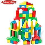 Melissa & Doug 木质积木套件 - 100 块积木,4 种颜色,9 种形状