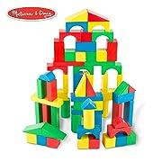 Melissa & Doug Wooden Building Blocks Set (Developmental Toy, 100 Blocks in 4 Colors and 9 Shapes)
