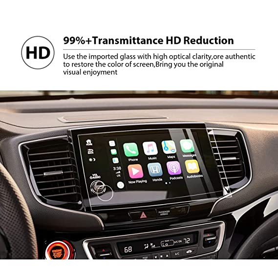 YEE PIN Car Navigation Tempered Glass Screen Protection Film for 2019 Pilot 8Inch, Touch Sensitivity Anti-Explosion Scratch Resistance