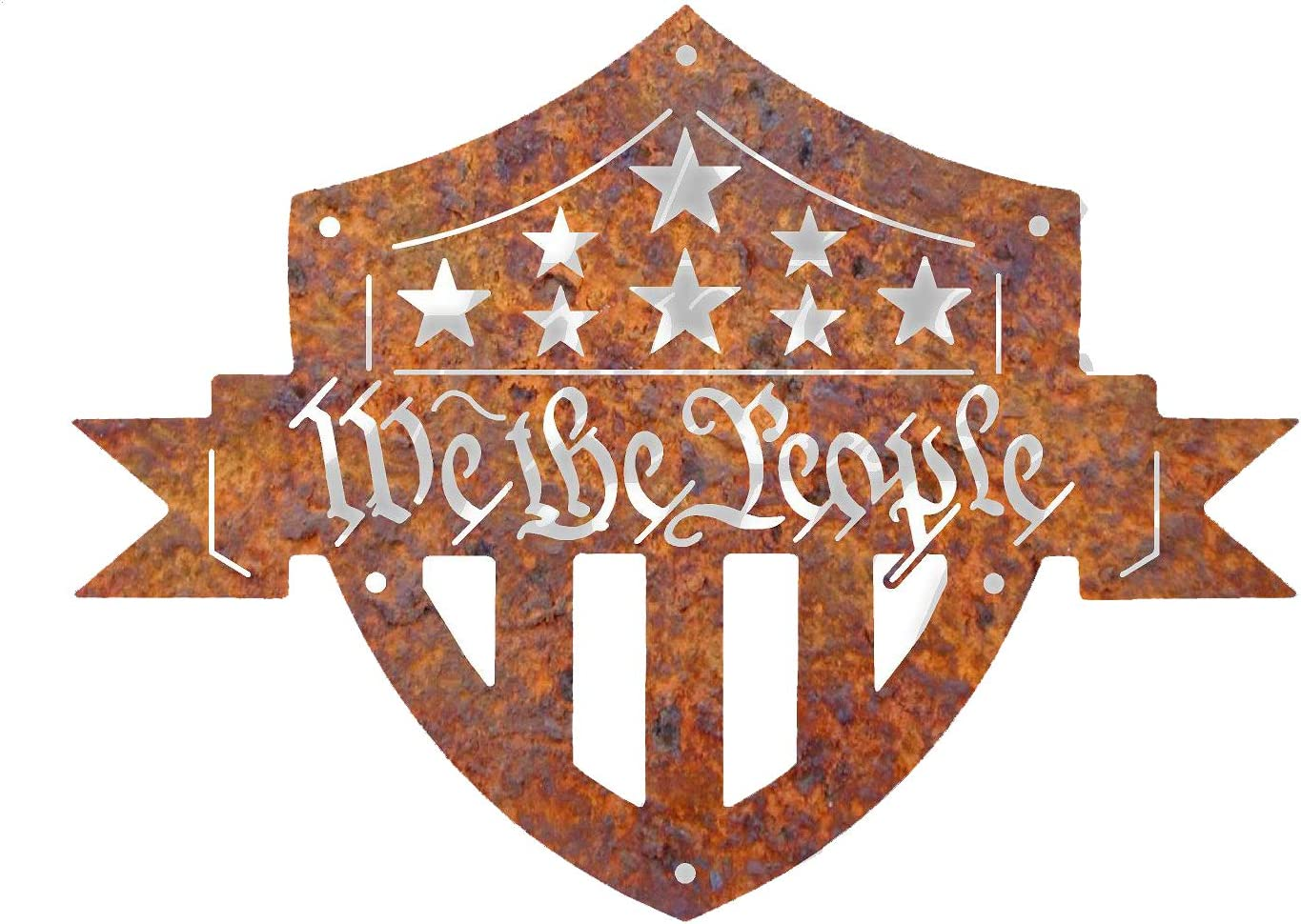 We The People Shield Metal Wall Art | Raw Metal Sign Decoration | Home Decor Art