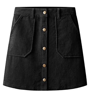 3a3aaf5631 Trendy XU Vintage Corduroy Single-Breasted A-line Skirt High Waist Mini Hip  Skirt
