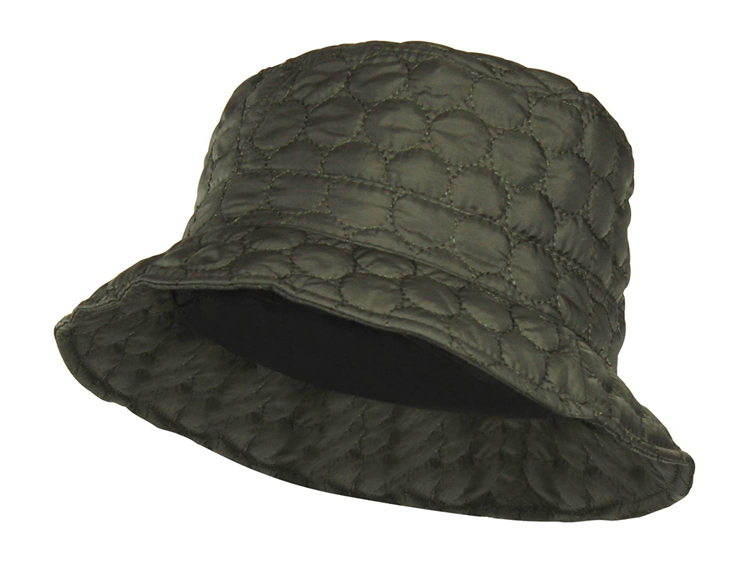 Packable Water Repellent Quilted Bucket Rain Hat w/ Adjustable Drawstring