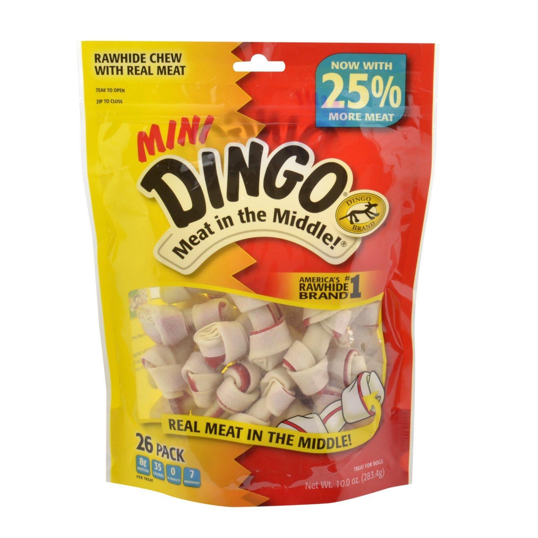 Dingo Brand Dog Rawhide Chews, Mini, White, 26 Count per Pack (3 Packs Total)