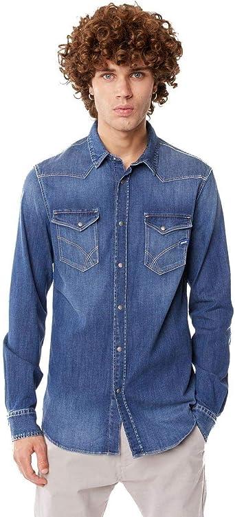 GAS Kant Camisa Vaquera de Hombre en Azul Vaquero 150767-WZ79