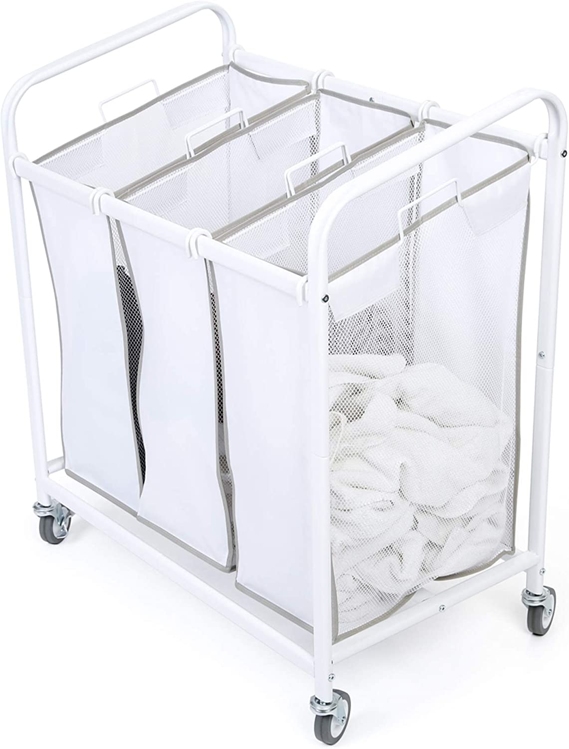Smart Design Premium Rolling 3 Compartment Mesh Laundry Sorter Hamper w/Wheels & Handles - Steel Metal Frame - VentilAir Fabric Design - Clothes & Laundry - Home Organization (Holds 9 Loads) [White]