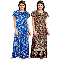 Shoppio India Women Printed Cotton maxi nighty for women sleepwear Indian - Combo 2Pieces Multicolor