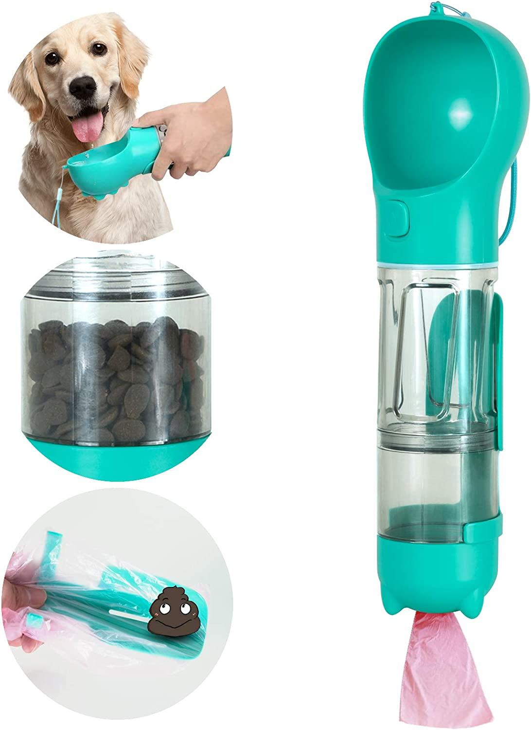 N / A Multifunctional and Portable Dog Water Bottle for Walking,Dog Travel Water Bottle,Portable Dog Water Bottle,Dog Travel Water Dispenser with Food Container, by Right+Left