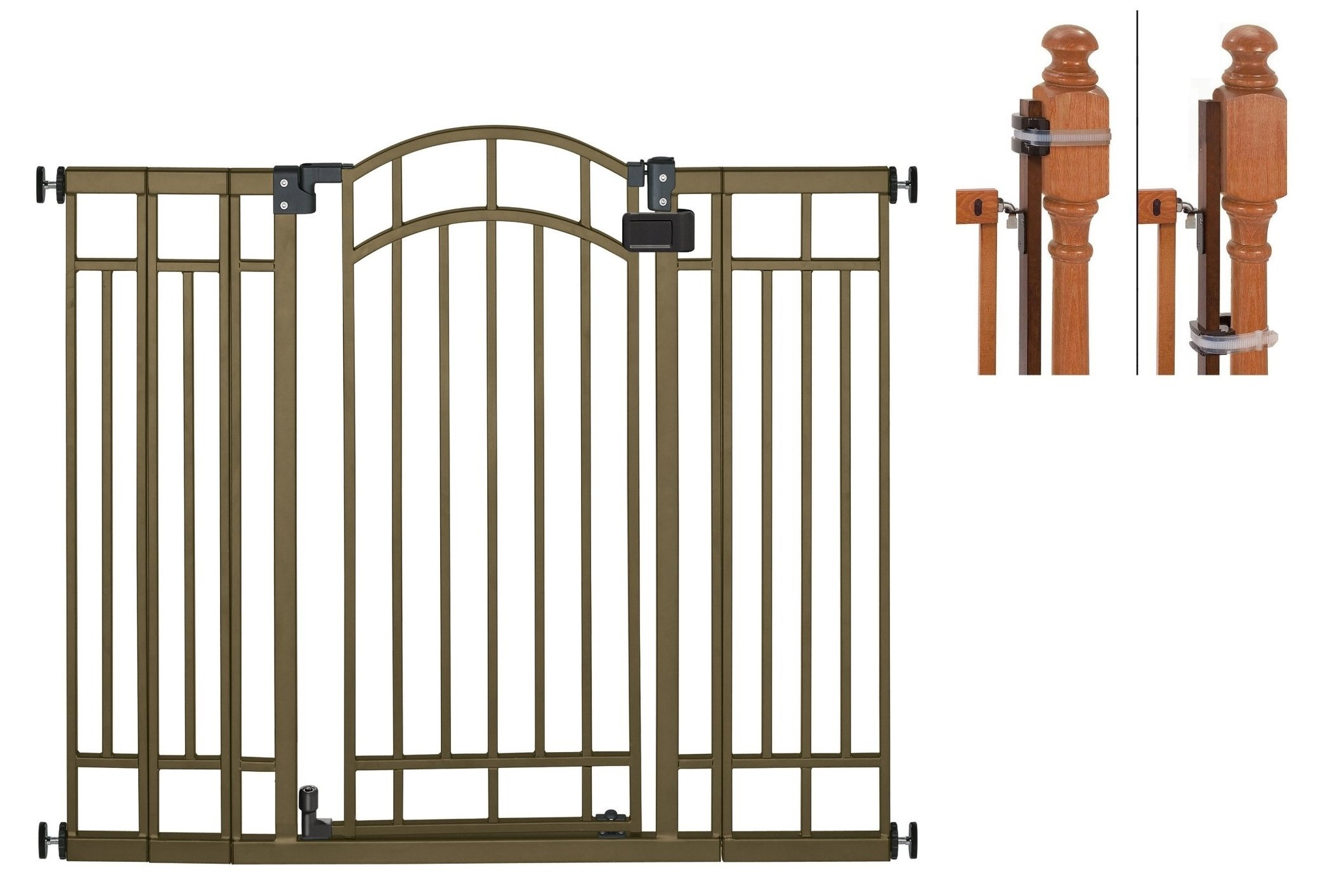 Summer Infant Multi-Use Deco Extra Tall Walk-Thru Gate, Bronze with Banister Installation Kit