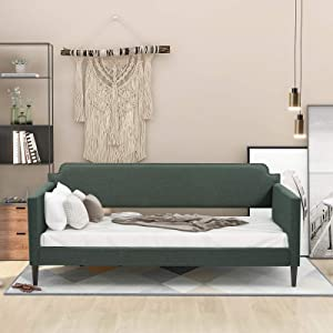 Danxee Twin Daybed Upholstered Daybed Twin Size Polyester Sofa Bed Frame with Wood Slats for Kids Teens Girls Boys No Box Spring Needed (Green)