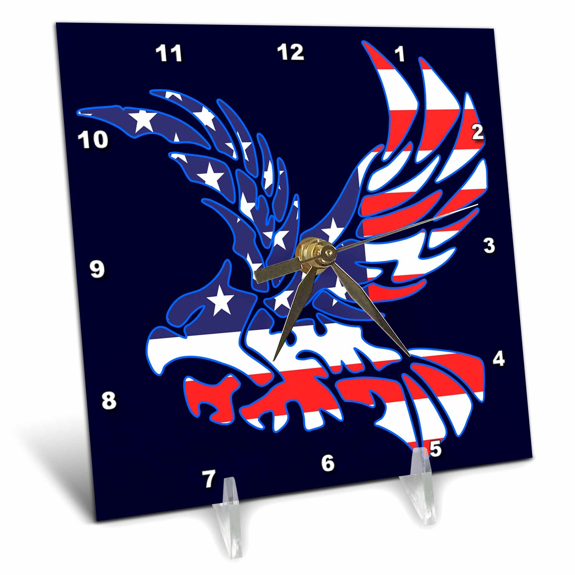 3dRose Alexis Design - America - Silhouette of a bald eagle in flight and the American flag on blue - 6x6 Desk Clock (dc_276086_1)